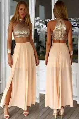 Sexy High Collar Two Piece Prom Dress Cheap Sequined Chiffon Formal Occasion Dresses_1