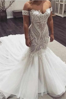 Mermaid Off The Shoulder Appliques Wedding Dresses | Sleeveless Cheap Bridal Gowns
