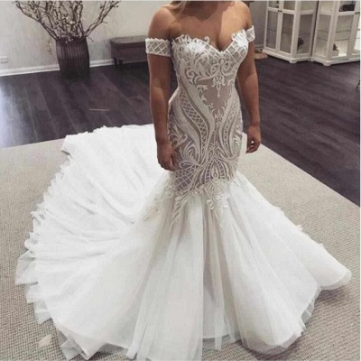 Mermaid Off The Shoulder Appliques Wedding Dresses | Sleeveless Cheap Bridal Gowns_2