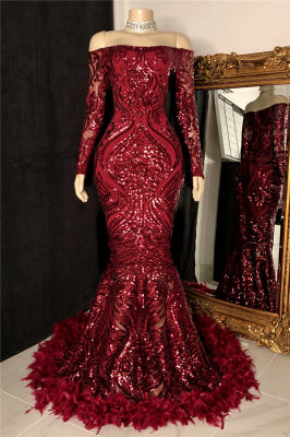 Off The Shoulder Burgundy Prom Dresses with Feather | Long Sleeve Sparkle Lace Mermaid Evening Gowns_1