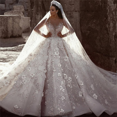 Glamorous Long Sleeves Flowers Wedding Dresses | 2020 Beadings Bridal Ball Gowns BC0151_4
