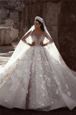 Glamorous Long Sleeves Flowers Wedding Dresses | 2020 Beadings Bridal Ball Gowns BC0151_2