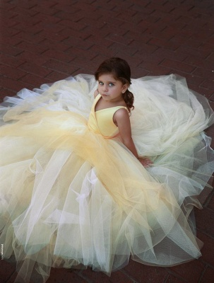 Lovely Yellow V-Neck Flower Girl Dresses | 2020 Sleeveless Tulle Pageant Dresses BC0848_3