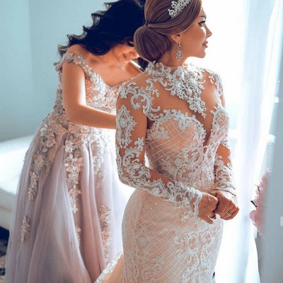 Gorgeous Sheer Tulle Lace Appliques Wedding Dresses | High Neck Long Sleeve Bridal Gowns with Court Train_2