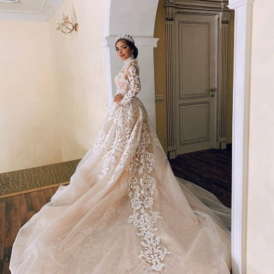 Gorgeous Sheer Tulle Lace Appliques Wedding Dresses | High Neck Long Sleeve Bridal Gowns with Court Train_3