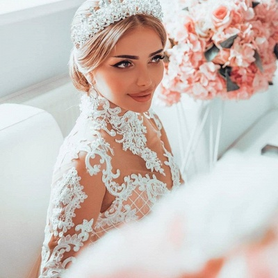 Gorgeous Sheer Tulle Lace Appliques Wedding Dresses | High Neck Long Sleeve Bridal Gowns with Court Train_4