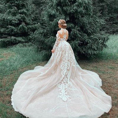 Gorgeous Sheer Tulle Lace Appliques Wedding Dresses | High Neck Long Sleeve Bridal Gowns with Court Train_6