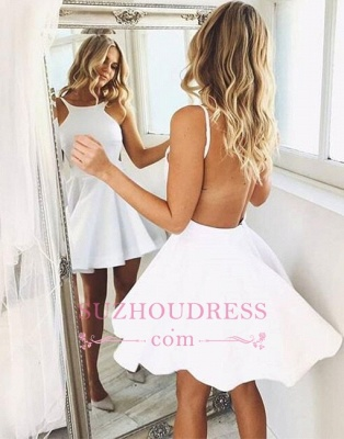A-line Cute Sleeveless White Backless Short-mini Cocktail Dress BA6800_3