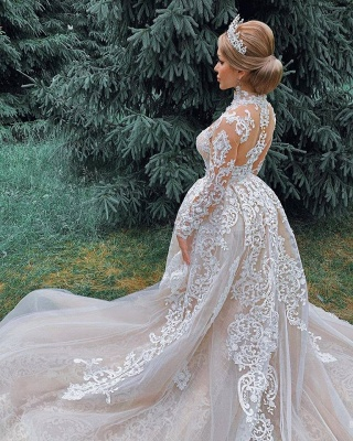 Gorgeous Sheer Tulle Lace Appliques Wedding Dresses | High Neck Long Sleeve Bridal Gowns with Court Train_5