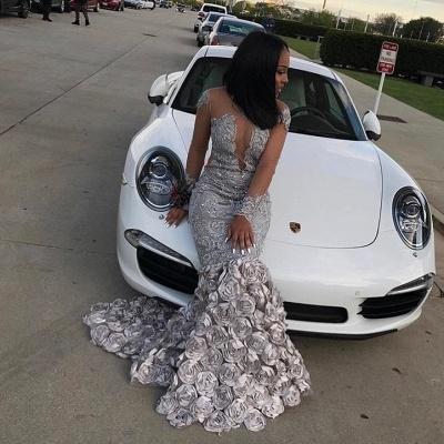 Sexy Mermaid Long Sleeves Prom Dresses 2020 Flowers Appliques Court Train Evening Gowns SK0122_3