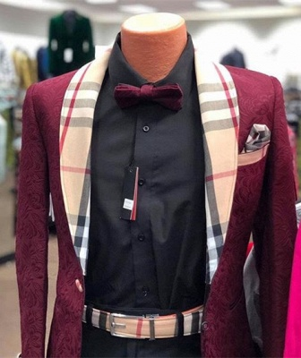 Classic Custom Made Burgundy Mens Blazers | 2020 Cheap Popular Prom Suit High Quality su0030