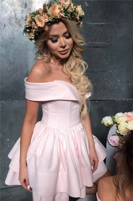 2020 Cheap Off The Shoulder Pink Short Homecoming Dresses Lovely Mini Formal Party Dress_4