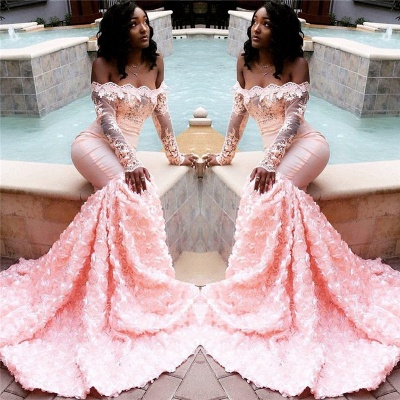 Sexy Off The Shoulder Pink Prom Dresses 2020 | Long Sleeve Lace Mermaid Flowers Cheap Evening Gowns BC1251_3