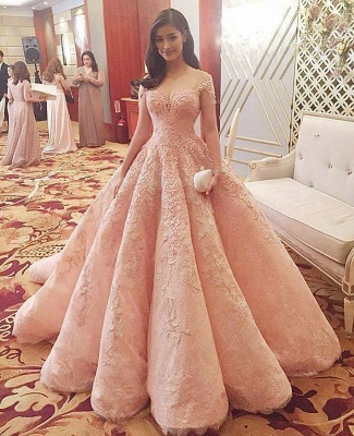 Coral Pink Lace Appliques Formal Evening Gowns | Short Sleeve Ruffles Ball Gown Wedding Reception Dresses Cheap_2