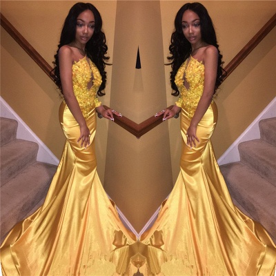 Daffodil One Sleeve Sexy Prom Dress 2020 | Mermaid Lace Appliques Cheap Evening Gown FB0306_3