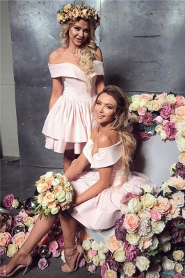 2020 Cheap Off The Shoulder Pink Short Homecoming Dresses Lovely Mini Formal Party Dress_1