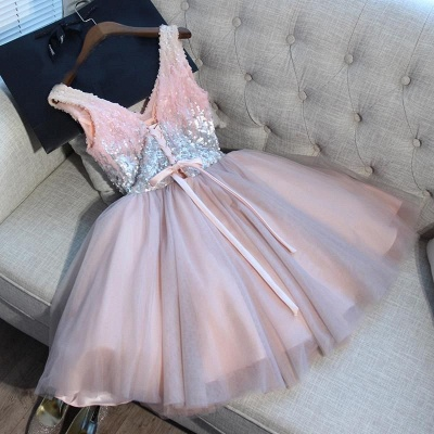 Glamorous V-Neck Tulle Sequins Homecoming Dresses 2020 Sleeveless Lace-up Hoco Dresses_4