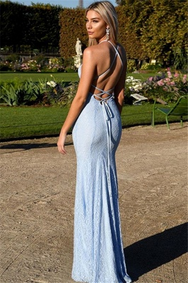 Sexy Open Back Lace Evening Dress Cheap 2020 | Mermaid Spaghetti Straps Baby Blue Fomral Evening Dress_4