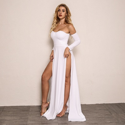 Sexy Front Splits Cheap Evening Dress 2020 | Strapless Cheap Party Dresses with Sleeves_4