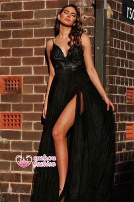 A-line Side-slit Applique Black V-back Spaghetti-strap Floor-length Ruffles Prom Dress_2