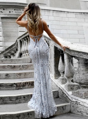 Sexy V-Neck Mermaid Prom Dresses 2020 Sequined Backless Evening Gowns SK0022_2