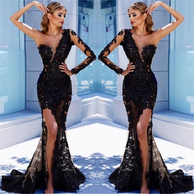 One Sleeve Black Lace Cheap Prom Dresses 2020   Mermaid See Through Sexy Long Evening Dress FB0408_2