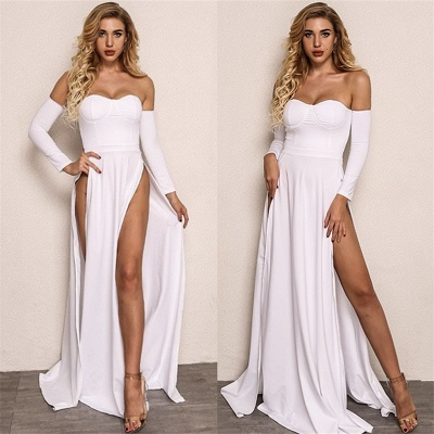 Sexy Front Splits Cheap Evening Dress 2020 | Strapless Cheap Party Dresses with Sleeves_3