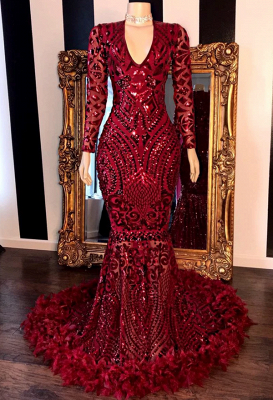 Feather Mermaid Burgundy Prom Dresses | Long Sleeve Sparkle Lace Appliques Cheap Evening Gowns