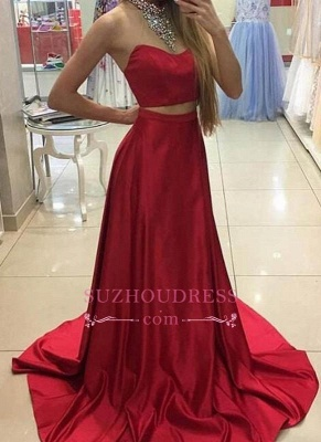 Long Sleeveless Red Two Piece Prom Dresses 2020 Crystals High Neck Evening Gowns_2