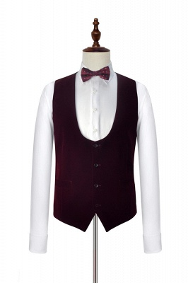 Burgundy Velvet White Wedding Suits for Groom | Wool One Button Men Suits Tuxedos with Vest (Blazer Pants Vest)_2