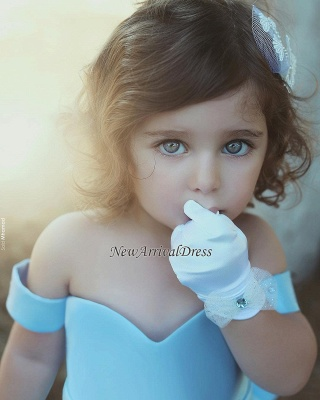 Lovely Simple Blue Bow Off-the-Sholder Flower-Girls Dresses BA7114_1