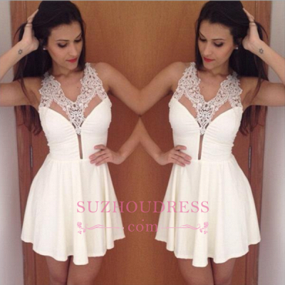 2020 Simple Pretty New A-Line Halter Short Lace Homecoming Dress_1