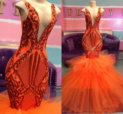 Orange Mermaid Lace Appliques Prom Dresses 2020 | Tulle Ruffles Sexy V-neck Cheap Evening Gowns_2