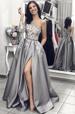 One Sleeve Lace Appliques Sexy Prom Dresses Cheap 2020 | Side Slit New Arrival Formal Evening Dress_1