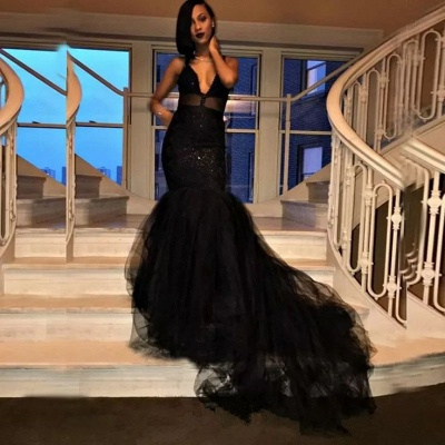 Sexy V-Neck Mermaid Black Prom Dresses 2020 Tulle Sequins Evening Gowns SK0126_3
