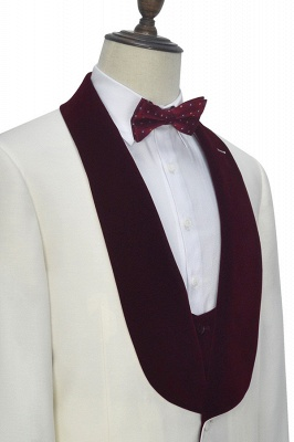 Burgundy Velvet White Wedding Suits for Groom | Wool One Button Men Suits Tuxedos with Vest (Blazer Pants Vest)_4