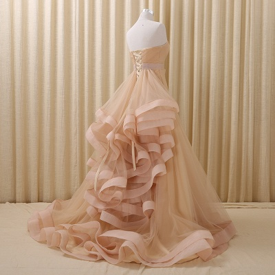 Strapless Lace-Up Organza 2020 Evening Dresses Tiered Flower Elegant Prom Gowns_2