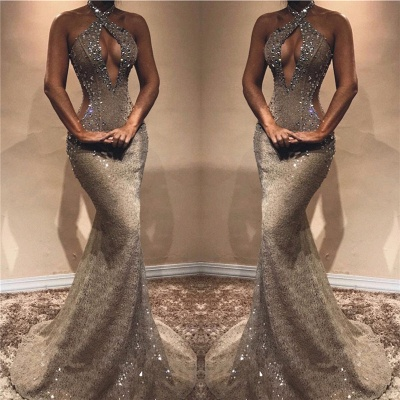 Halter Open Back Sexy Prom Dresses Cheap | Shiny Beads Crystals Illusion Mermaid Evening Gown_3