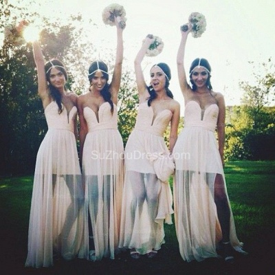 Bridesmaid Dresses 2020 Sweetheart Sleeveless A Line See Through Cheap Party Gowns_2