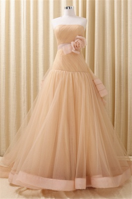 Strapless Lace-Up Organza 2020 Evening Dresses Tiered Flower Elegant Prom Gowns_1