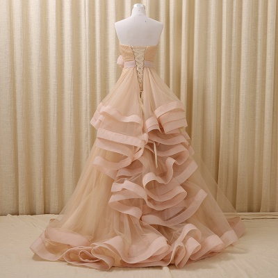 Strapless Lace-Up Organza 2020 Evening Dresses Tiered Flower Elegant Prom Gowns_3