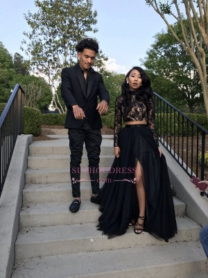 Two Piece Long Sleeve Evening Gown 2020 Black Sexy Slit Lace Prom Dress SP0349_5