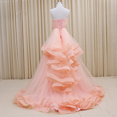 Strapless Lace-Up Organza 2020 Evening Dresses Tiered Flower Elegant Prom Gowns_6