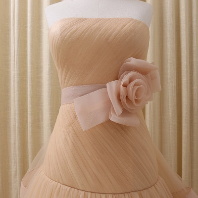 Strapless Lace-Up Organza 2020 Evening Dresses Tiered Flower Elegant Prom Gowns_4