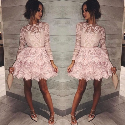 Pink Lace Long Sleeve Homecoming Dresses 2020 Elegant Short Party Dress with Sash_3