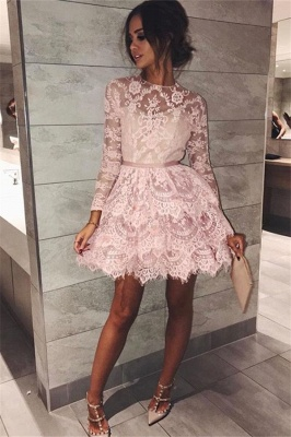 Pink Lace Long Sleeve Homecoming Dresses 2020 Elegant Short Party Dress with Sash_1