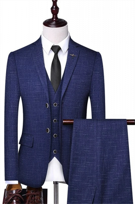Blue Wool Two Button Formal Men Suits | Handsome Three Pieces Business Suits (Blazer Pants Vest)
