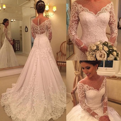 Sexy See Through Long Sleeve Lace Wedding Dresses Cheap | Elegant Appliques A-line Bridal Gowns 2020_3