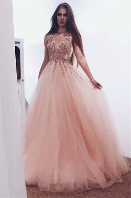 V-neck Beads Sequins Coral Prom Dresses Cheap 2020 | Sleeveless Puffy Tulle Sexy Evening Gowns_4