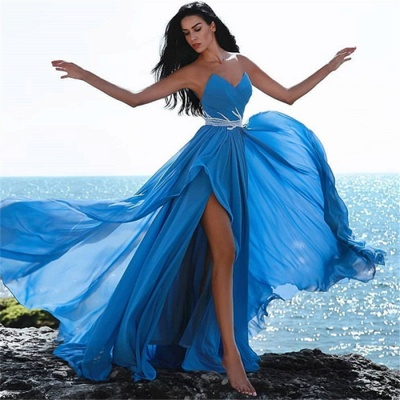Simple Blue Sweetheart Evening Dresses | 2020 Crystal Side Slit Cheap Prom Dress_3